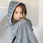 Bamboo hooded towel Stars - Grey