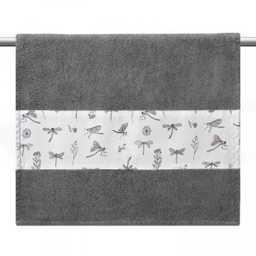 Ręcznik bambusowy kąpielowy 120x85 - Niebiańskie piórka - szary