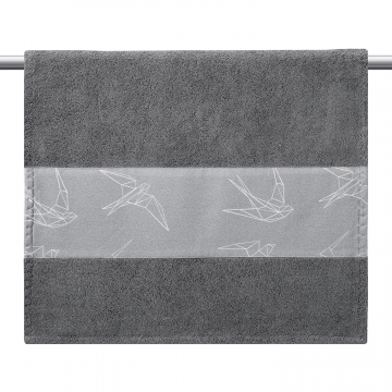 Bamboo bath towel 120x85 - Heavenly feathers - grey
