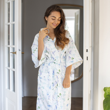 Bamboo kimono dressing gown - Heavenly birds