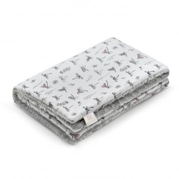 Warm bamboo blanket Grey owls Silver