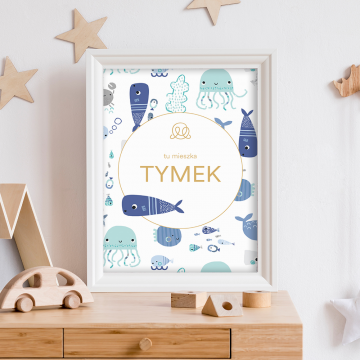 Personalized name poster - Sea friends