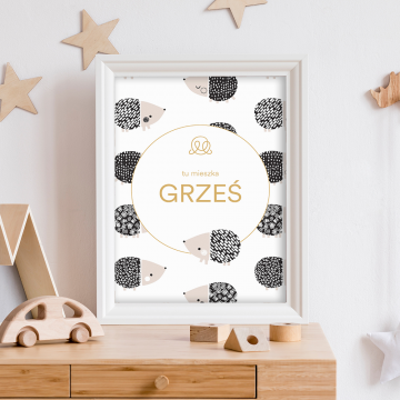 Personalized name poster - Hedgehogs boys