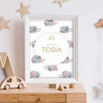 Personalized name poster - Hedgehogs girls