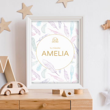 Personalized name poster - Paradise feathers