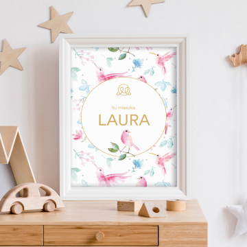 Personalized name poster - Paradise birds