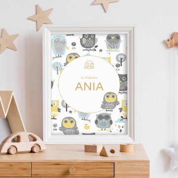 Personalized name poster - Grey owls