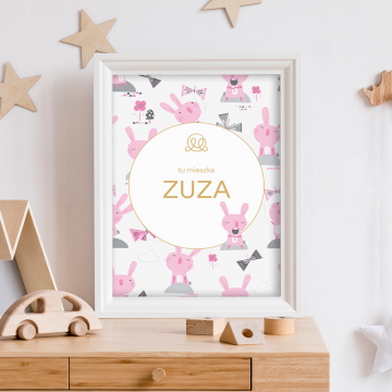 Personalized name poster - Bunnies