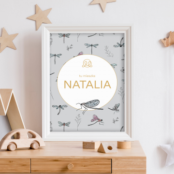 Personalized name poster - Dragonflies