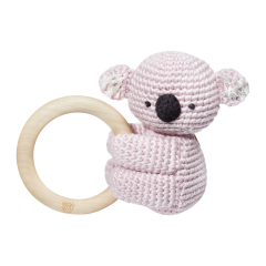 Rattle-teether Koala - dusty pink