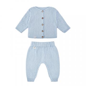 Knitted bamboo set - light blue