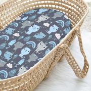 Bamboo Moses basket sheet - Indiana cat