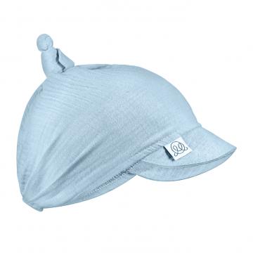 Muslin visor scarf tied- light blue