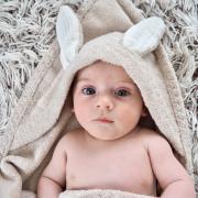 Ręcznik bambusowy niemowlaka - Rajskie piórka - śmietanka