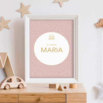 Personalized name poster - Stones pink
