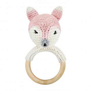 Rattle-teether Fox - dusty pink