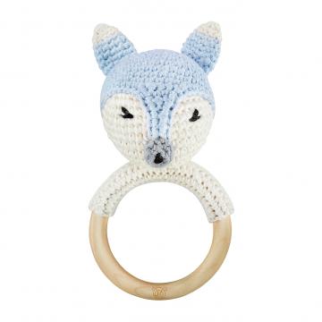 Rattle-teether Fox - light blue