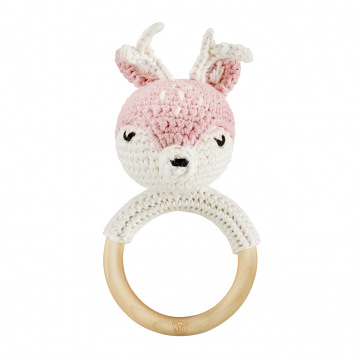 Rattle-teether Deer - dusty pink