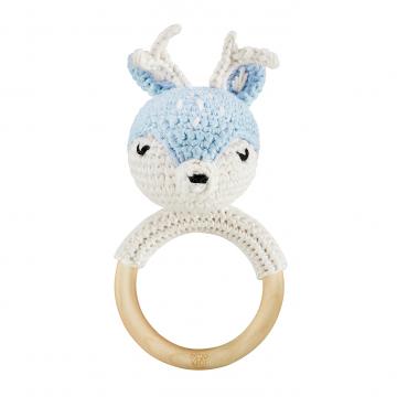 Rattle-teether Deer - light blue