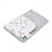 Light bamboo blanket Luxe - Paradise birds - grey