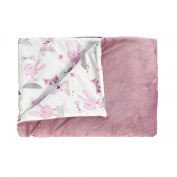 Warm bamboo blanket XL - Paradise feathers - heather pink