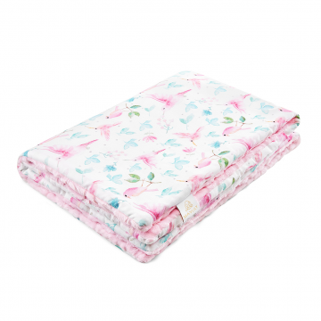Warm bamboo blanket Luxe - Paradise birds - pink